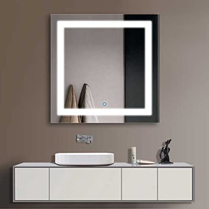 "Fresh Decoraport 36"" Square LED Bathroom Mirror Illuminated Lighted Vanity Wall Mounted Mirror with Touch Button For Your House - Model Of bathroom mirror light fixtures For Your Plan"