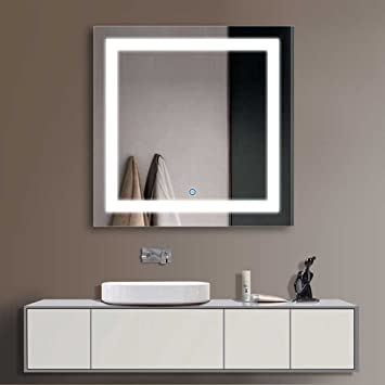 amazoncom decoraport 36 square led bathroom mirror illuminated lighted vanity wall mounted mirror with touch button a ck168 e home kitchen - Bathroom Mirror With Lights