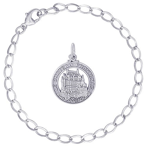Rembrandt Charms Sterling Silver Chateau Frontenac Charm on a Curb Link Bracelet, 8
