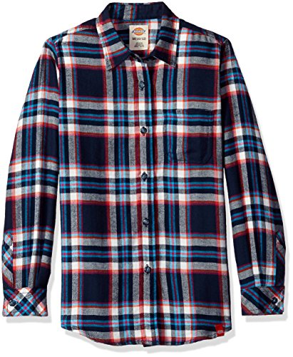 Dickies Girls' Big Long Sleeve Flannel Shirt, Black Iris/Texas Topaz Plaid, XL (Dickies Womens Long Sleeve Shirts)