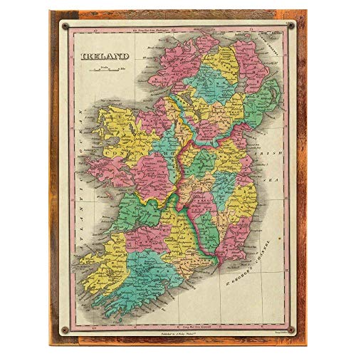 mdrqzdfh Wood Framed Ireland Map 1831 Metal Sign Vintage Style D Eacute;cor Historical On Reclaimed Rustic Wood