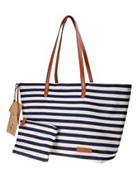 Canvas Tote Bag ZLYC Stripe Beach Bag Women Large Shoulder Bag Leather Top Handle Handbag Casual Purse, Navy Blue