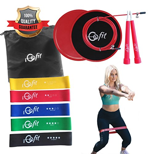iGofit Premium Resistance Bands and Sliders Exercise Equipment Set. Working Out Arms, Abs, Booty, Legs. 5 Fitness Loops, 2 Dual-Sided Core Gliders Discs. Bonus Jump Rope and Carrying Bag.
