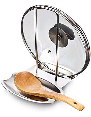 Denshine Soporte de Tapas y Cucharas Organizador para Cocina de Acero Inoxidable Sartenes Resto de Tapas