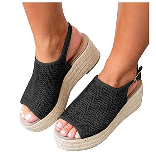 (Cenglings Women's Platform Sandals, Sexy Fish Mouth High Heel Espadrilles Sandals Casual Roman Shoes Slingback Wedge Shoes Black)
