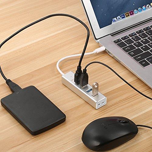 4Port USB Type C Hub Adapter - atolla CH402 USB to USB C OTG Hub USB 3.1 Gen 1 for Apple Macbook Laptops Powered via DC port / Micro USB port Multiple Port Duplicator Aluminium (Silver)