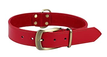 Red Rantow Strong Adjustable Leather Classic Pet Dog Training Collars Size 21 to 24.5 and 1.4 Wide Belt Style Easy to Use Headcollar for Medium//Large Dogs