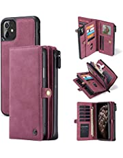 Bpowe iPhone 11 Wallet Case, Zipper Purse Folio Magnetic Leather Wallet Protection Card Slot Holder Detachable Slim Magnetic Back Cover for iPhone 11 6.1 inch (Red)