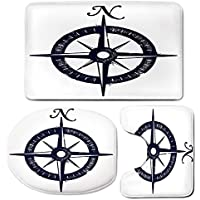 3 Piece Bath Mat Rug Set,Compass,Bathroom Non-Slip Floor Mat,Sailing-Compass-with-a-Giant-North-Symbol-on-with-a-Windrose-Navy-Blue-Color-Scheme-Decorative,Pedestal Rug + Lid Toilet Cover + Bath Mat,N
