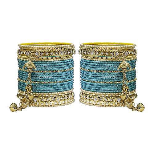 MUCH-MORE Gorgeous Collection Fashion Made of Latkan Bangles for Women & Girls (Radium, 2.6) (Studded Bangle Diamond Bracelet)