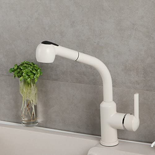 RENIST Single-Hole Pull-Out Kitchen Faucet Diamond White