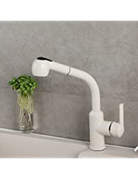 Single-Hole Pull-Out Kitchen Faucet Diamond White