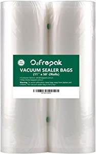 "O2frepak 2 Pack 11"" x 50' Rolls Food Saver Vacuum Sealer Freezer Bags Rolls for Food Saver, Seal a Meal Vacuum Sealer Fits Inside Storage Area Sous Vide Vaccume - Cut to Size Roll (Total100 feet)"