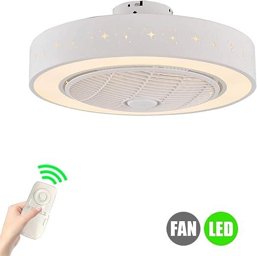 SUZNIU Ventilador de Techo con lámpara Moderno 3 aspas Ocultas ...