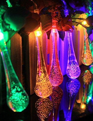 Yellow Garden Solar Outdoor String Lights 20ft 30LED Water Drop Fairy Waterproof