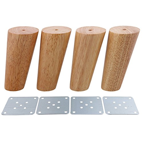 Height Oak (Yibuy 4x Wood Color Oblique Tapered Furniture Leg for Sofa Cabinet 12cm Height)
