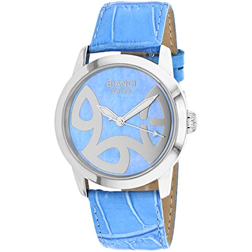 ROBERTO BIANCI WATCHES Women's 'Amadeus' Swiss Quartz Stainless Steel and Leather Casual Watch, Color:Blue (Model: RB18583)
