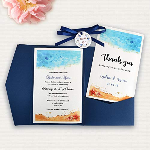 Doris Home Tri-fold wedding invitations for Bridal Shower, Dinner, Beach theme, Party with Ribbon and Tags, DH0001 (Blue, 25pcs Blank)