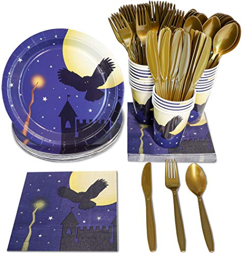 Wizard Halloween Party Supplies - Serves 24 - Includes Plates, Knives, Spoons, Forks, Cups and Napkins. Perfect Wizard Party Pack for Kids Halloween Wizard Themed Parties.]()