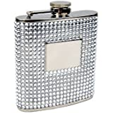 Personalized Silver Bead 6oz Flask, Free Engraving!