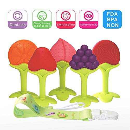 Baby Teething Toys BPA Free Soft Silicone Baby Fruit Teethers Toys with Pacifier Clip/Holder Non-Toxic, Soft, Durable and Freezer Safe for Boys & Girls Infant and Toddler(5 Pack)