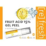 Fruit Acid Chemical Peel with Kojic Acid 15% - Lactic Acid, Glycolic Acid Natural Facial Gel Peel - Small Travel Size 5ml