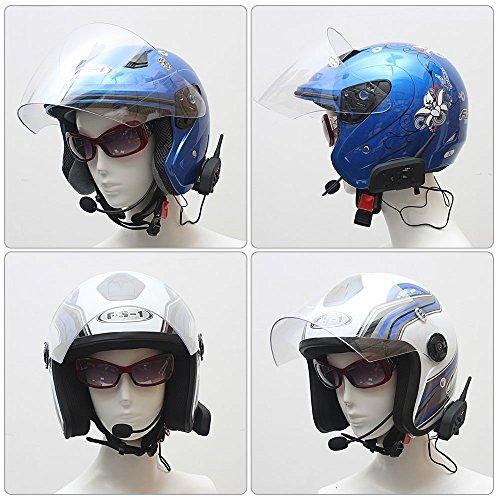Motorcycle Helmet Bluetooth Intercom Headset, V6 BT 1200M Range 6 Riders Wireless Interphone Speakers IP65 Waterproof Communication Systems Kit for Motorbike Skiing Cycling Climbing by TOP-MAX (Image #5)'