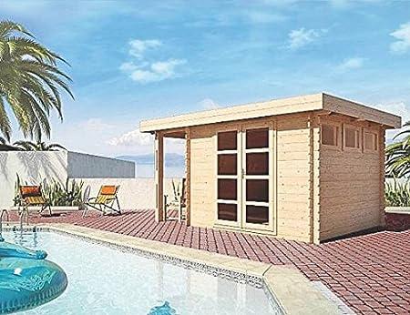 Caseta de jardín AC – 28 mm de grosor, superficie: 8,88 m2, techo plano con tejado arrastrado: Amazon.es: Bricolaje y herramientas
