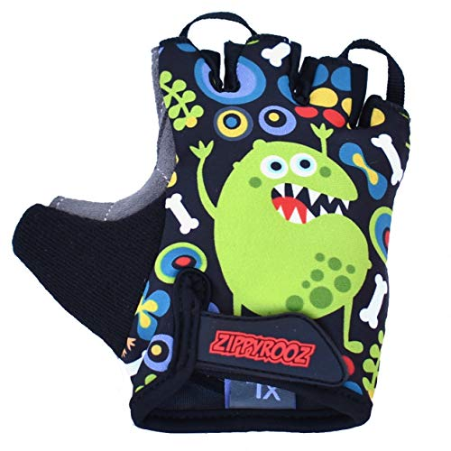 ZippyRooz Toddler & Little Kids Bike Gloves for Balance and Pedal Bicycles (Formerly WeeRiderz) for Ages 1-8 Years Old. 4 Designs for Boys & Girls (Monsters, Little Kids XL (7-8))