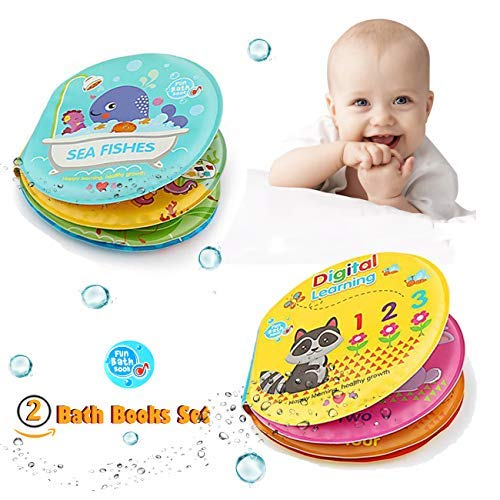 Baby Bath Books Set of 2 Non-Toxic Bath Time Toys Sea Fishes and Digital Learning Bath Book Early Educational Bath Toys for Toddlers Kids Infants Babies Boys and Girls Bathtub Toy ()