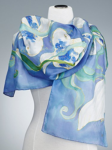 (Hand Painted Silk Scarf, Silk Shawl using French dyes. Koi fish on blue.)