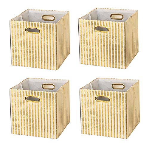 BAIST Fabric Storage Cubes,Gold Big Collapsible Linen Bed Storage Baskets Bins Organizers for Playroom Books Toys White Gold Stripe,4-Pack