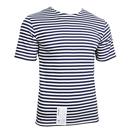 Genuine Russian Navy Blue TELNYASHKA Striped Short Sleeved T-Shirt Top (44