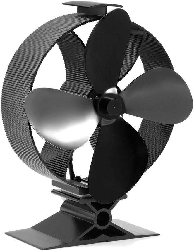 Ventilateur de chemin/ée sp/écial pour la maison Big House Noir noir Ventilateur de po/êle /à bois et thermom/ètre pour br/ûleur /à b/ûches et chemin/ée Ventilateur de chaleur 3 lames