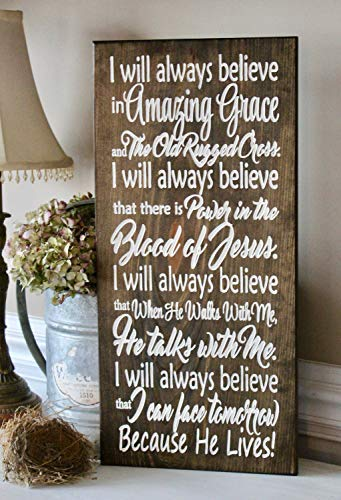 Funlaugh Amazing Grace Always Believe Wood Carved Sign Hymn Old Rugged Cross I Will Always Believe in Amazing Grace Sayings Home Decor Wall Art Plaque Sign Presents
