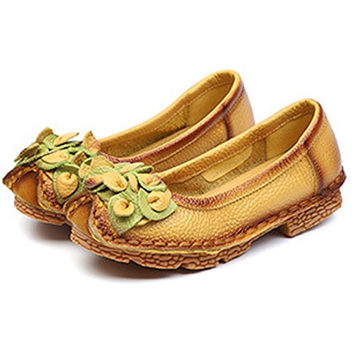 Eagsouni Women's Flower Leather Vintage Handmade Flat Shoes Moccasins Slip On Loafers Yellow OHMGm