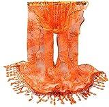 Rukiwa Fashion Women Long Wrap Scarf Tassel Shawl Flower Lace Scarf Scarves (Orange)