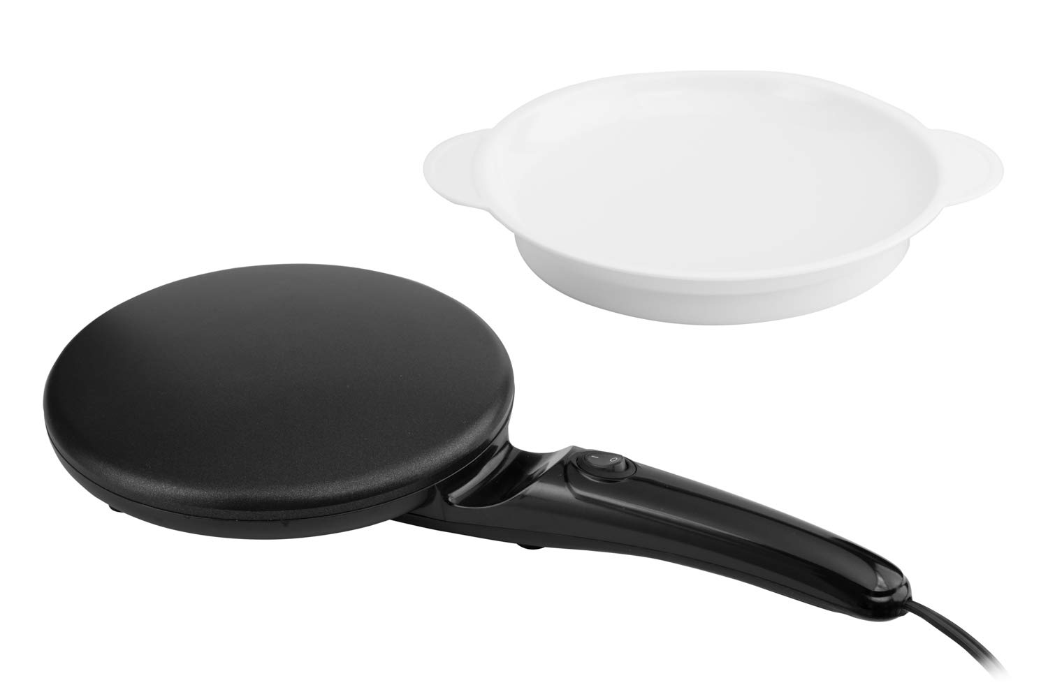 Moss Stone 8 Electric Crepe Maker I Pan Style I Hot Plate Cooktop I ON OFF Switch I Nonstick Coating I Automatic Temperature Control I Easy to use I Pancakes, Blintz, Chapati, Tortillas