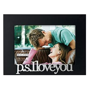 Malden International Designs Expressions P.S. I Love You Picture Frame, 4 by 6-Inch, Black