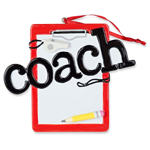 Coach Clipboard Resin Christmas Ornament | Holiday Ornaments by ChalkTalk Sports]()