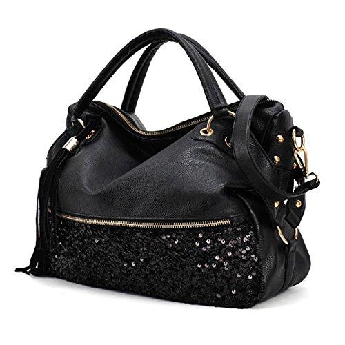 (Civetta Fashion Women Punk PU Leather Tassel Paillette Sequin Tote Handbag Shoulder Bag)