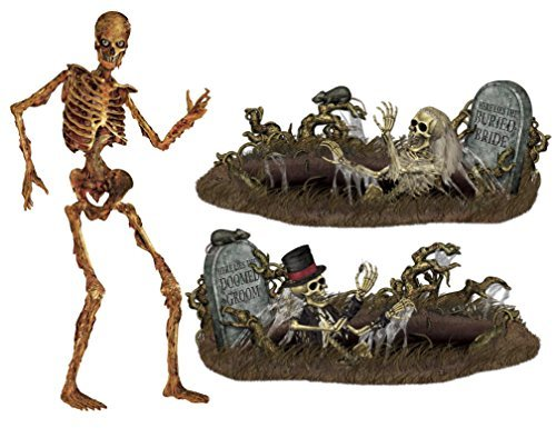 Besitle Halloween Party Decorations - Jointed Skeleton Figure, Doomed Groom, and Buried Bride by Maven -
