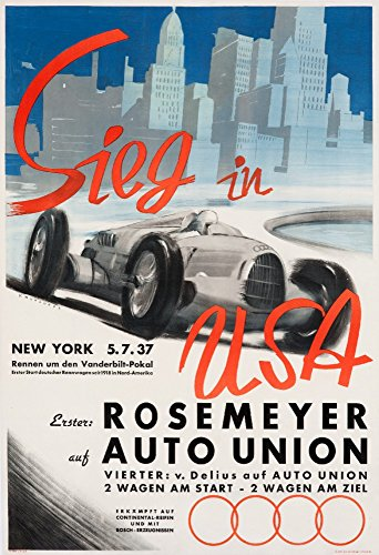 Sieg in USA - Rosemeyer auf Auto Union Vintage Poster (artist: Mundorff) Germany c. 1937 (16x24 Giclee Gallery Print, Wall Decor Travel Poster)