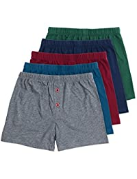 Noah Boys Boxer Shorts, 5-Pack Underwear Set, 100% Pure Cotton