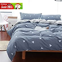 Uozzi Bedding 3 Piece Duvet Cover Set King, Reversible Printing with Brushed Microfiber White Triangle with Gray&Blue Pattern,Best Christmas Gift for Family (Gray&Blue, King)