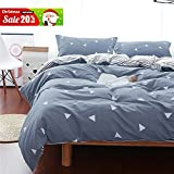 Uozzi Bedding 3 Piece Duvet Cover Set King, Reversible Printing with Brushed Microfiber, Lightweight Soft, Best Christmas Gifts for Men, Women, Kids, Teens, Lover, Friends, Family (Gray-blue, Queen)