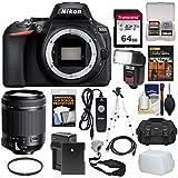 Nikon D5600 Wi-Fi Digital SLR Camera Body with 18-200mm VC Lens + 64GB Card + Case + Flash + Battery & Charger + Tripod + Kit