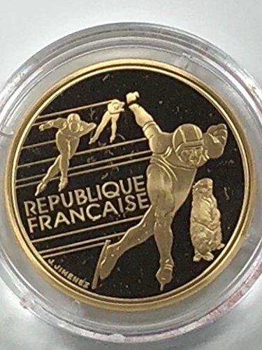 1990 FR Albertville 1992 Olympics Speed Skating 500 Francs Uncirculated 1992 Albertville Olympics