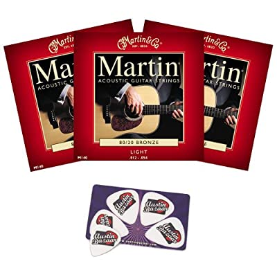 Martin M140 80/20 Bronze Acoustic Guitar Strings - Multi Pack with Picks by Martin Strings