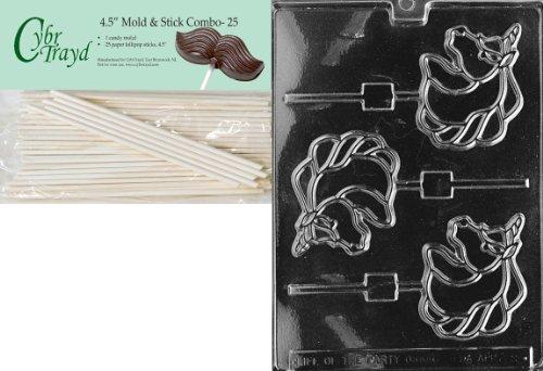 Cybrtrayd 45St25-A009 Unicorn Lolly Animal Chocolate Candy Mold with 25 4.5-Inch Lollipop Sticks ()